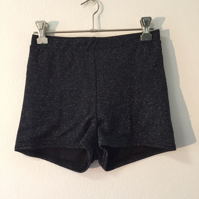 Supre Hotpants Sparkly Sequin Black Silver Shorts