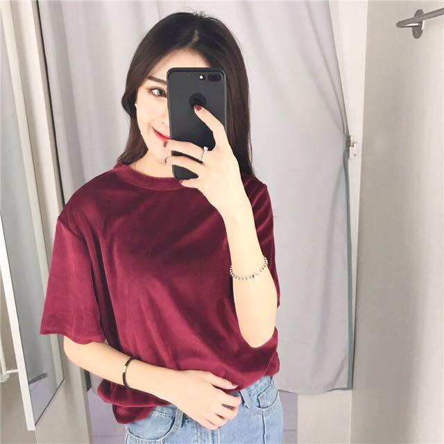 降🔥酒紅/黑 絲絨 天鵝絨短袖T恤上衣
