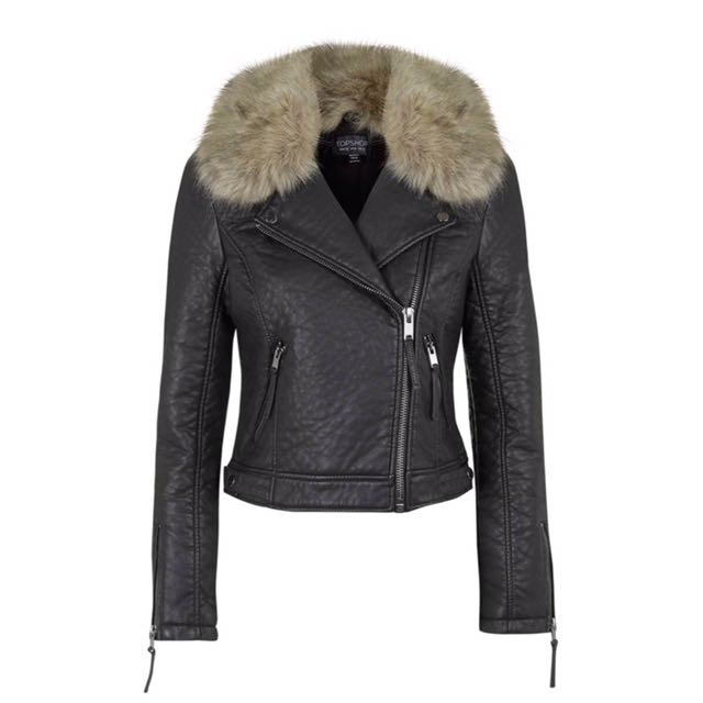 TopShop Faux Fur ' Leather Jacket