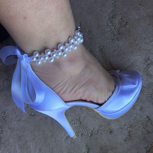 White Satin Wedding Shoes #EOFYSALE