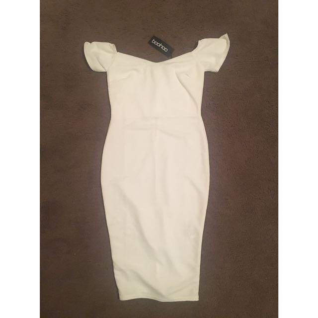White Tight Midi Dress