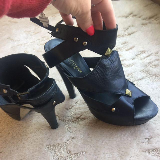 Zoe Wittner Leather Strappy Stud Heels #EOFYSALE