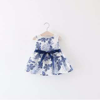 Blue Floral Baby Dress
