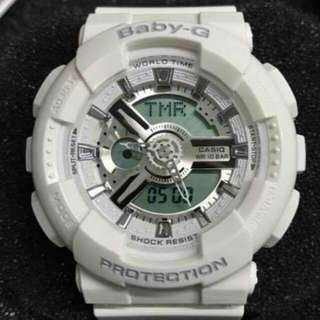 FREE SHIPPING! Baby G OEM BA111-1A White/Silver face