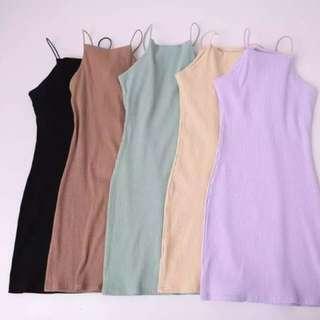 歐美性感針織坑條細肩帶削肩吊帶連身裙洋裝包臀裙窄裙緊身貼身