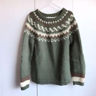 Size M For Men L For Woman Vintage 100% Wool Sweater Green