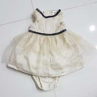 Carters Gold Glitter Newborn Baby Dress