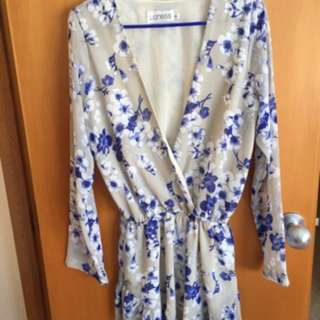 Long Sleeve Floral Playsuit