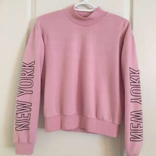 PINK MOCK NECK GARAGE SWEATER