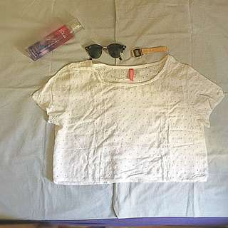 Divided White Crop Top