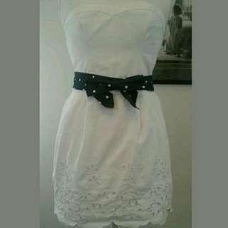White Hollister Dress with Bow Belt
