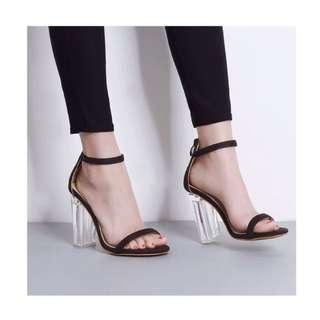 「新品推薦」歐美時尚百搭水晶跟一字帶魚口涼鞋