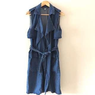 Zara Chambray Long Vest