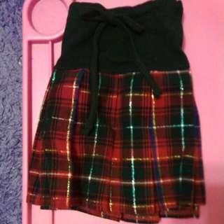 格子 學院風 毛呢 百折 短裙 #十一月免購物直接送
