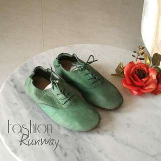 DISKON Green Leather Sporty Shoes With Lace