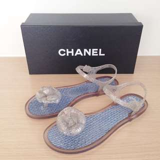 5bee141c3fa1f Chanel Camellia Jelly Sandals 37