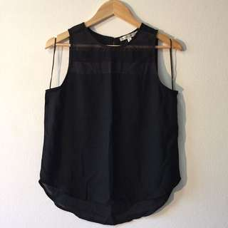 Black Balloon Sheer Top Shirt