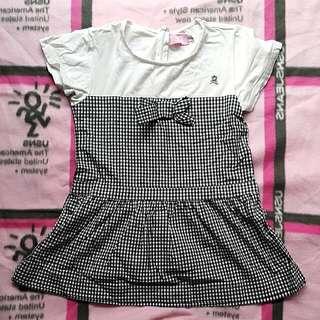 二手名牌百事特夢特嬌格子造型長版上衣洋裝女童裝
