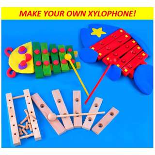 Kids DIY wooden xylophone with paint and brush / children's toy / handicraft / great for school holiday, weekend activity