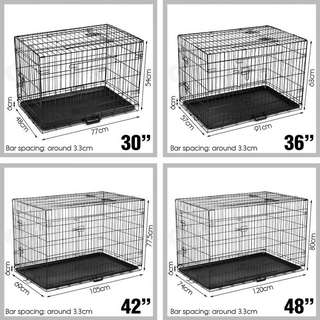 """36"""" 42"""" 48"""" DOG PUPPY PET CAGE KENNEL CAT COLLAPSIBLE 3 DOORS METAL CRATE WITH TRAY"""