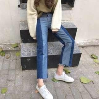 ❤️復古 寬鬆 拼色高腰牛仔褲 雙色 直筒牛仔褲❤️