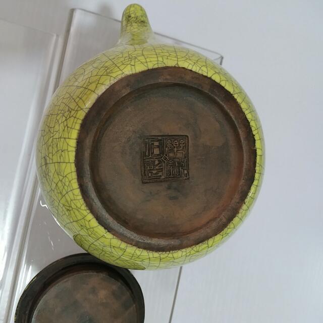 民國樂錦石制汝窯紫砂壺長14cm,高7cm,口徑6cm