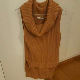 Large Neck Sleeveless Knit