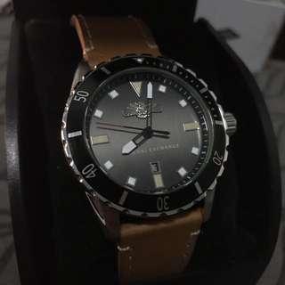 Armani Exchange Men's AX1707 Black Face, Brown Leather Quartz Watch