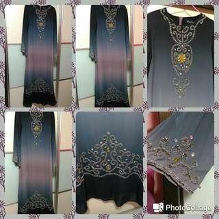 Elegant Long Sequins Jubah Size 38