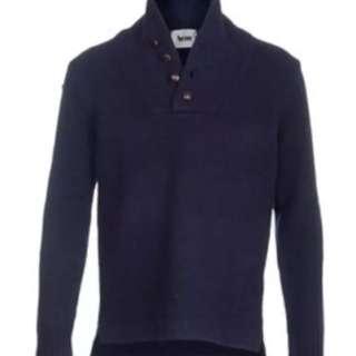 Acne Studios 'Nomandie' Dark Blue Shawl Collar Pullover - Size Medium