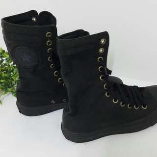 【黑皮GO】All star黑色長靴帆布鞋/All star名牌帆布鞋/經典黑色款