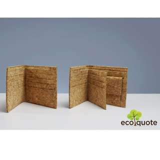 EcoQuote Bi Fold Wallet with Coins Pocket Handmade Cork Material