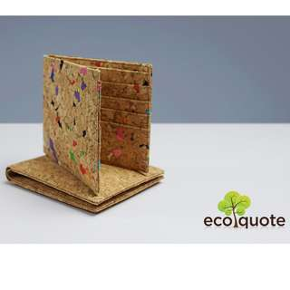 EcoQuote Bi Fold Wallet Handmade Cork Material