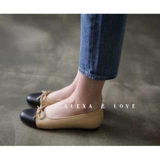 Alexa&Love 軟軟軟! 經典百搭雙色拚色淺口小香風芭蕾鞋平底娃娃鞋(二色特)