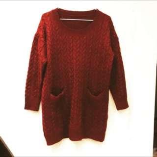 酒紅色針織毛衣洋裝 厚毛衣