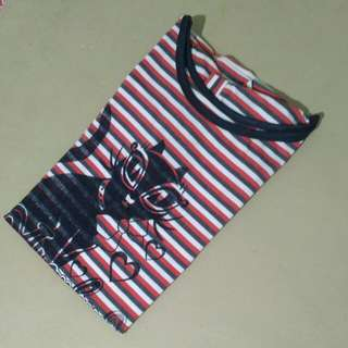 Kaos Kucing Merah Stripes