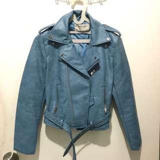 ZARA Leather Jacket In Blue Color