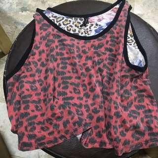 Red Leopard Sando Crop Top