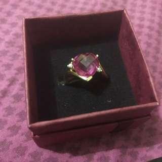 14k Gold Fuchsia Pink Heart Birthstone W/ White Diamonds