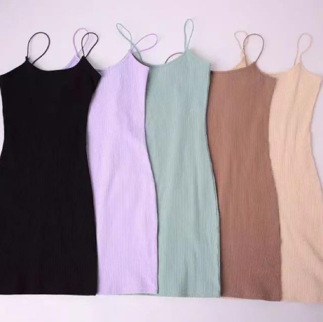 歐美性感針織坑條細肩帶削肩圓領吊帶連身裙洋裝包臀裙窄裙緊身貼身