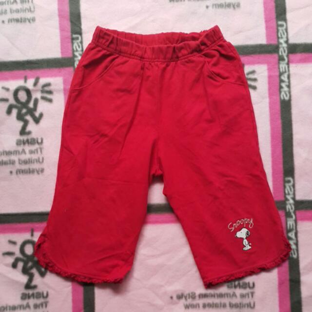 二手名牌百事特造型紅色女童裝七分褲