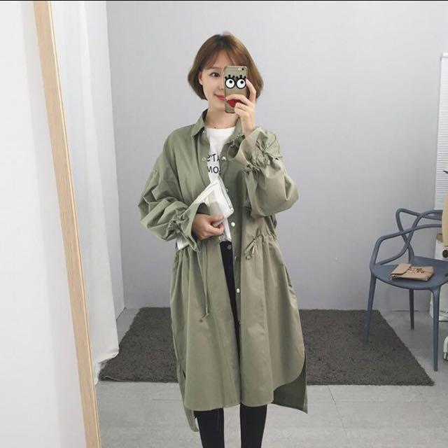 收腰軍綠風衣外套 長板#三百元外套