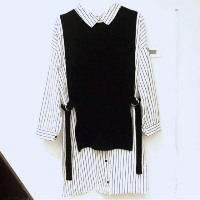 假兩件襯衫背心洋裝 韓製