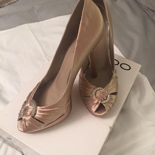 Aldo Open Toe Heels - Champagne Beige Size 8