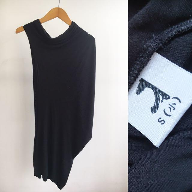 Asymmetric Black Mini Dress