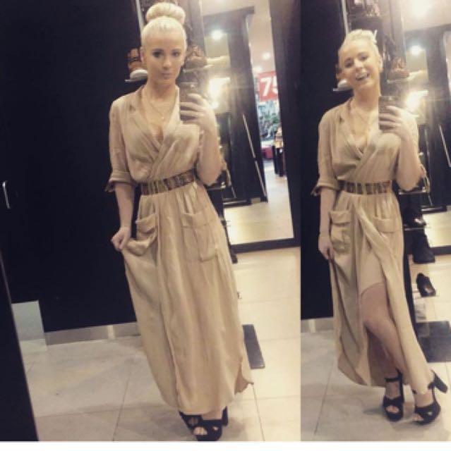 Bardot maxi style tan dress