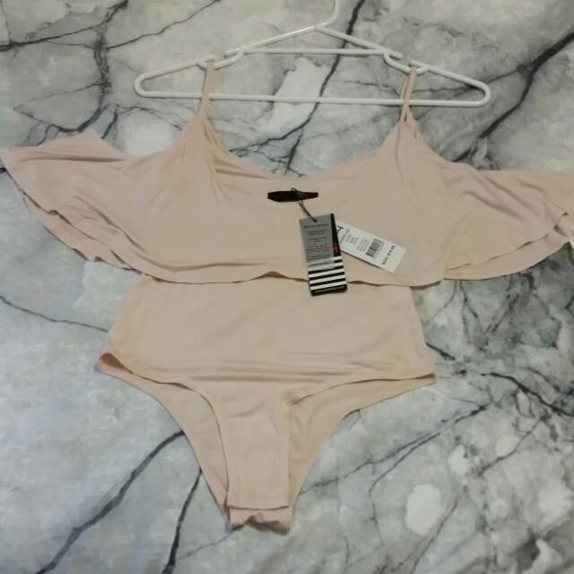 Beige Bodysuit Small Nude Frill Off Shoulder