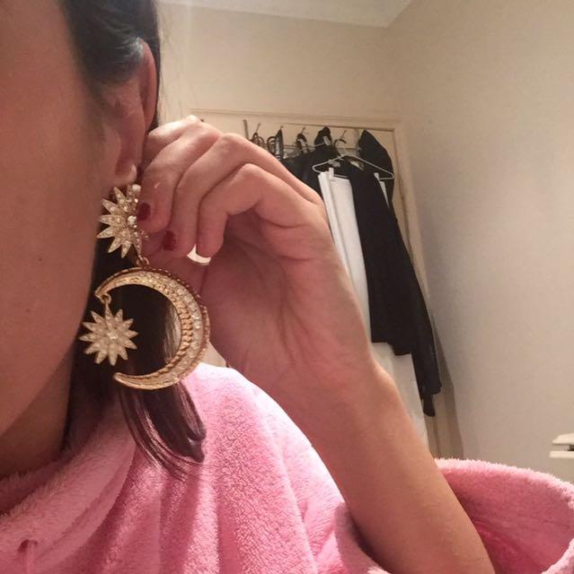 Big Moon Star Earrings