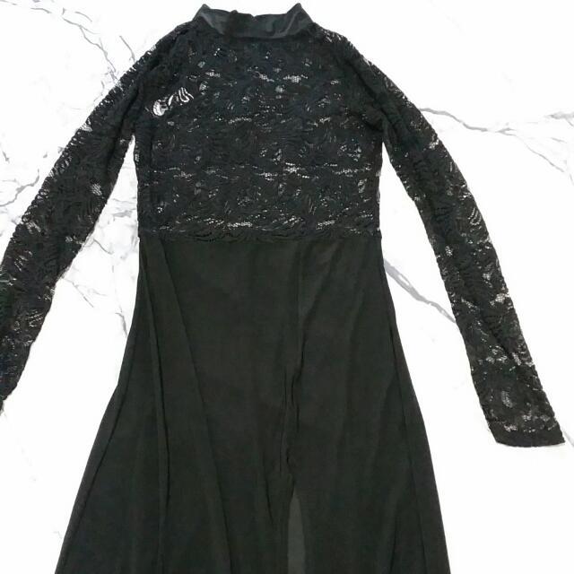 Black Lace Maxi Dress Formal