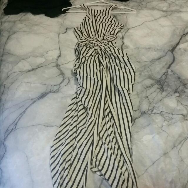 Black White Dress Morning Mist Bodycon Stripe